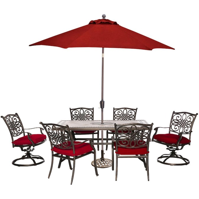 Hanover Monaco 7 Piece Red Frame Patio, Red Patio Table Set