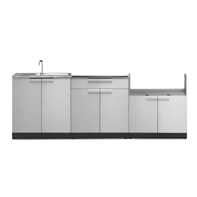 Newage Products Stainless Steel 3 Piece 97 In W X 24 In D X 35 5 In H Outdoor Kitchen Cabinet In The Modular Outdoor Kitchens Department At Lowes Com