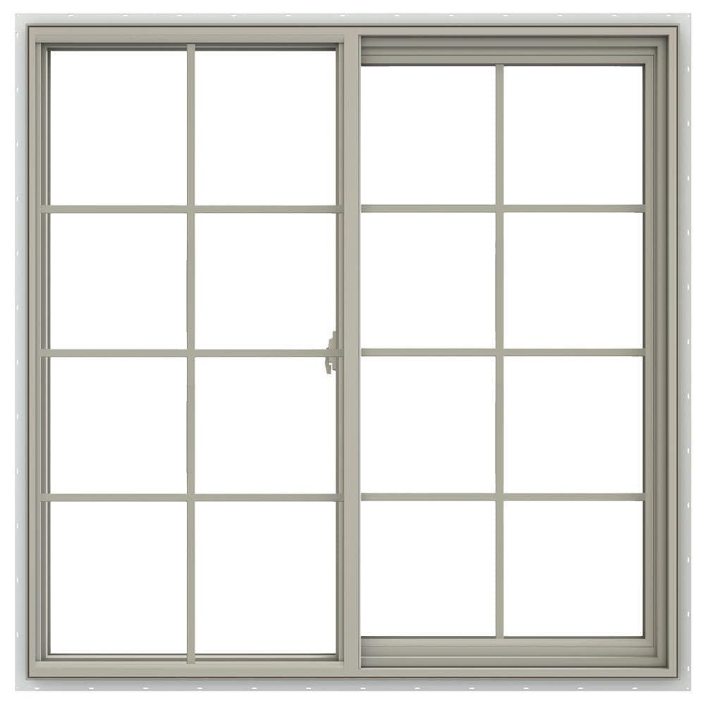 JELD-WEN V-2500 47.5-in x 47.5-in x 2.9065-in Jamb Between The Glass Right-operable Vinyl New Construction Egress Desert Sand Sliding Window in Brown -  LOWOLJW138500708