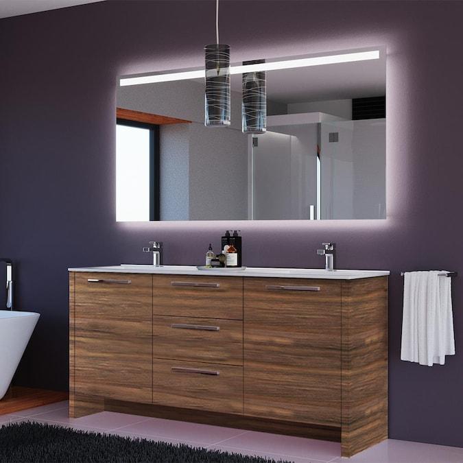 Double Sink Bathroom Vanity, Mirrored Free Standing Bathroom Cabinet