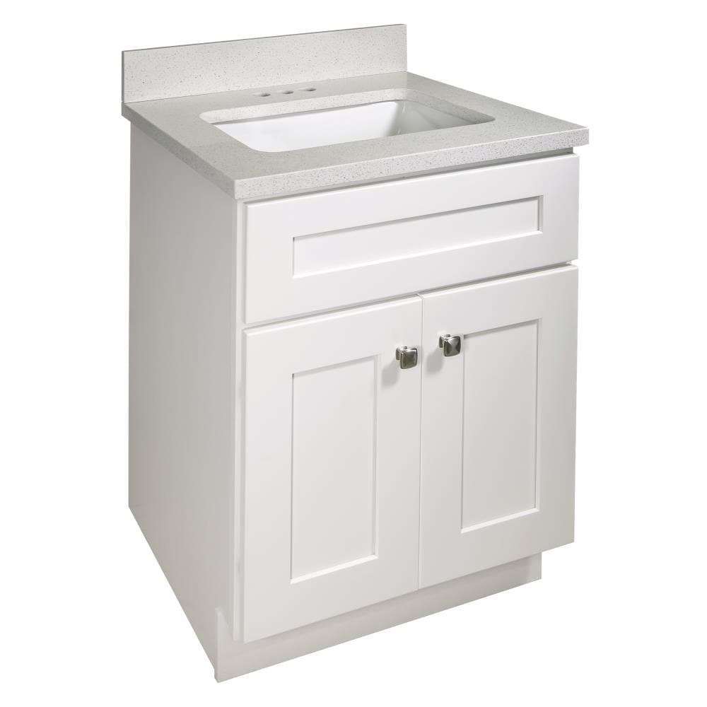 Design House Brookings 25 In White Undermount Single Sink Bathroom Vanity With Snowdrift Quartz Top In The Bathroom Vanities With Tops Department At Lowes Com