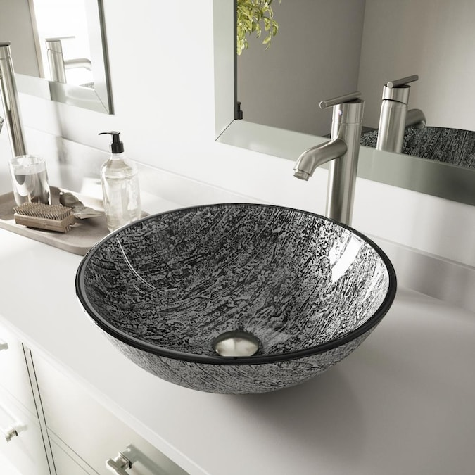 Vigo Vessel Sink Slate Grey Glass, Glass Sinks Bathroom