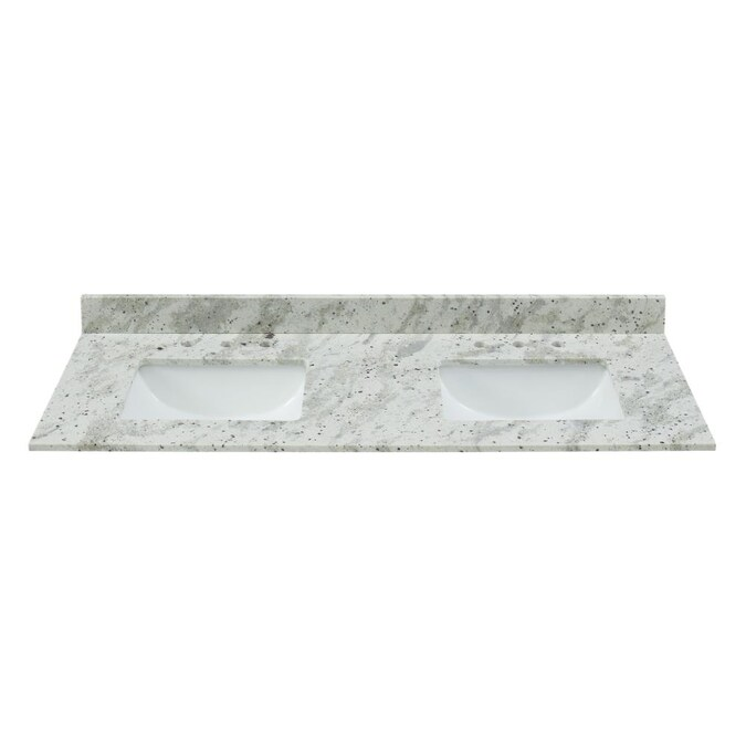 Bestview 61 In Glacier White Granite Double Sink Bathroom Vanity Top In The Bathroom Vanity Tops Department At Lowes Com