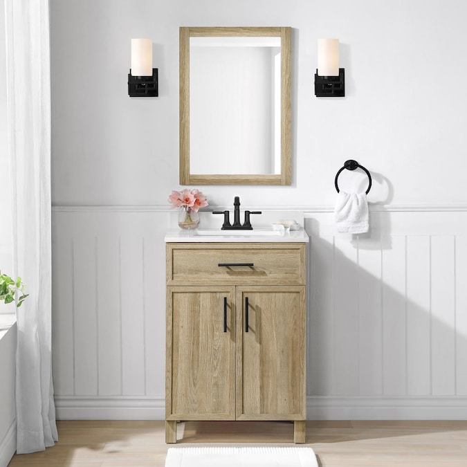 Style Selections Dolton 24 In Natural Oak Undermount Single Sink Bathroom Vanity With White Engineered Stone Top Mirror Included In The Bathroom Vanities With Tops Department At Lowes Com
