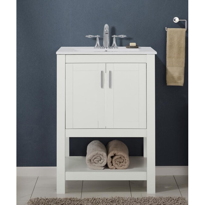 Saint Birch 24 In White Bathroom Vanity Cabinet In The Bathroom Vanities Without Tops Department At Lowes Com