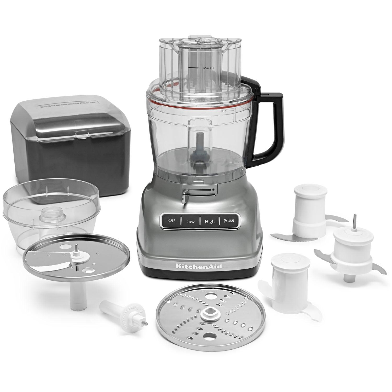 KitchenAid 11-Cup 250-Watt Contour Silver 2-Blade Food Processor | KFP1133CU