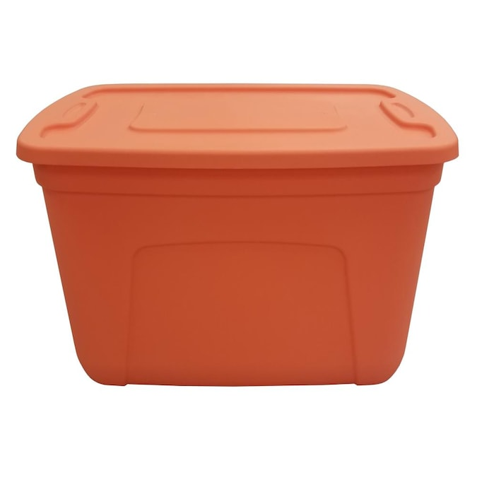 Style Selections 18 Gallon 72 Quart, Orange Plastic Storage Totes