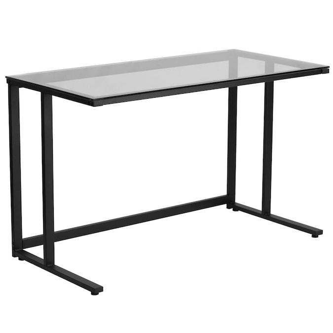Clear Modern Contemporary Computer Desk, Flash Furniture Black Glass Computer Desk With 3 Drawer Pedestal