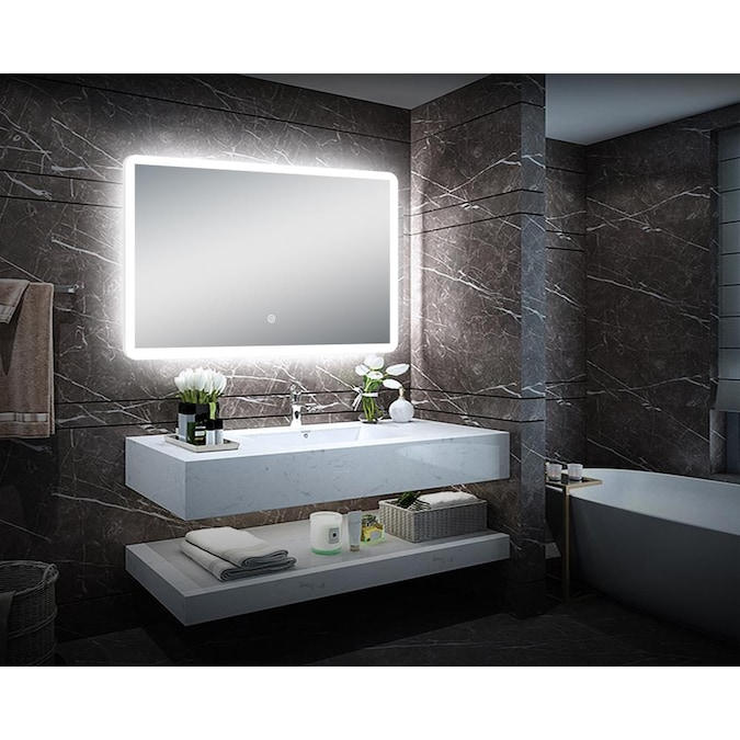 Dreamwerks 26 In Lighted Led Frameless Mirror Rectangular Frameless Bathroom Mirror In The Bathroom Mirrors Department At Lowes Com