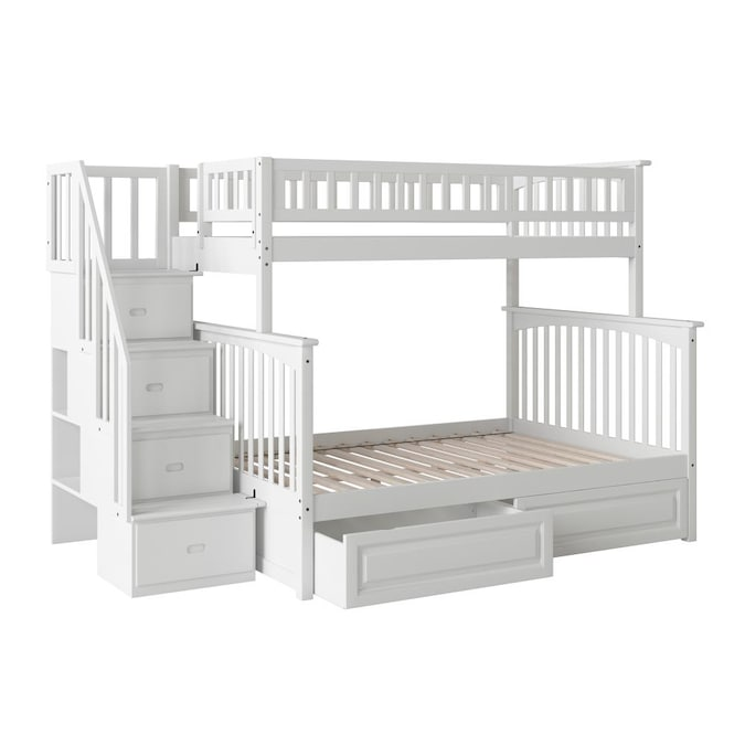Atlantic Furniture Columbia Staircase Bunk Bed Twin Over Full With 2 Raised Panel Bed Drawers In White In The Bunk Beds Department At Lowes Com