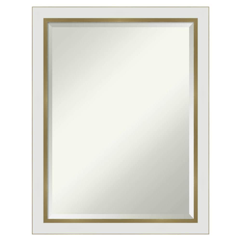 Amanti Art Eva White Gold Frame, Large Gold Frame Bathroom Mirror