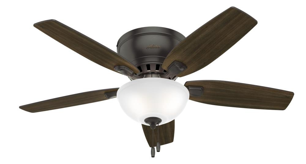 Hunter Small Room Led 46 In Noble Bronze Led Indoor Flush Mount Ceiling Fan With Light Kit 5 Blade In The Ceiling Fans Department At Lowes Com