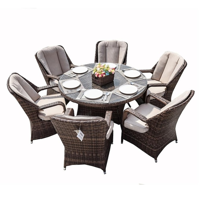 Seats Patio Dining Table, Patio Sets With Sunbrella Cushions