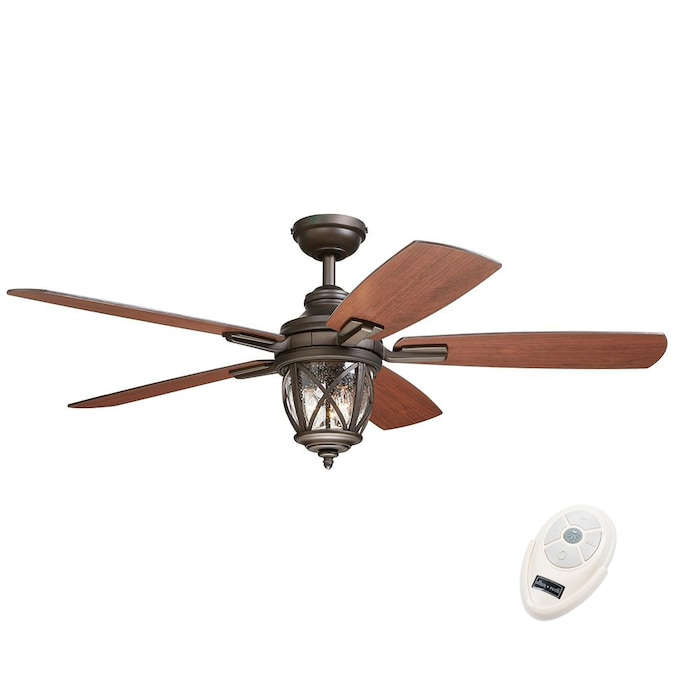 Allen Roth Castine 52 In Rubbed Bronze Led Indoor Outdoor Ceiling Fan With Remote 5 Blade In The Ceiling Fans Department At Lowes Com