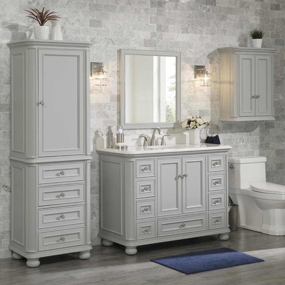 Allen Roth Wrightsville 48 In Light Gray Undermount Single Sink Bathroom Vanity With Natural Carrara Marble Top In The Bathroom Vanities With Tops Department At Lowes Com