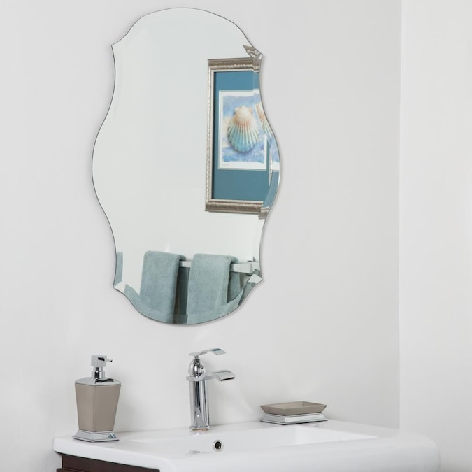 Decor Wonderland 23 In Silver Oval Frameless Bathroom Mirror In The Bathroom Mirrors Department At Lowes Com