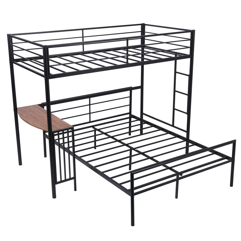 Casainc Twin Over Full Metal Bunk Bed With Desk Ladder And Quality Slats For Bedroom Metallic Black In The Bunk Beds Department At Lowes Com