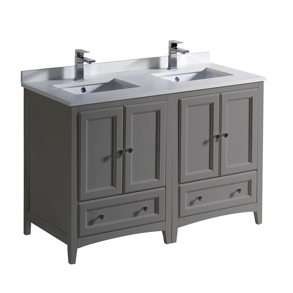 Fresca Oxford 48 In Gray Undermount, 48 Bathroom Vanity Double Sink