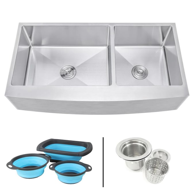 Emoderndecor Ariel Farmhouse Apron Front 42 In X 21 In Stainless Steel Double Offset Bowl Kitchen Sink In The Kitchen Sinks Department At Lowes Com