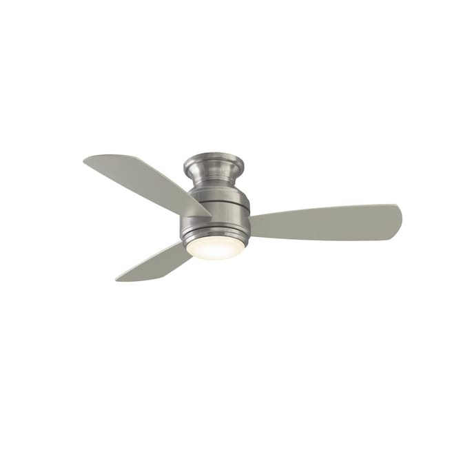 Fanimation Studio Collection Level 44 In Brushed Nickel Led Indoor Flush Mount Ceiling Fan With Light Kit 3 Blade In The Ceiling Fans Department At Lowes Com
