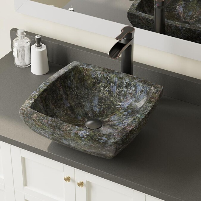 Mr Direct Blue Black And Tan Colored Granite Granite Vessel Square Bathroom Sink With Faucet Drain Included 15 75 In X 15 75 In In The Bathroom Sinks Department At Lowes Com