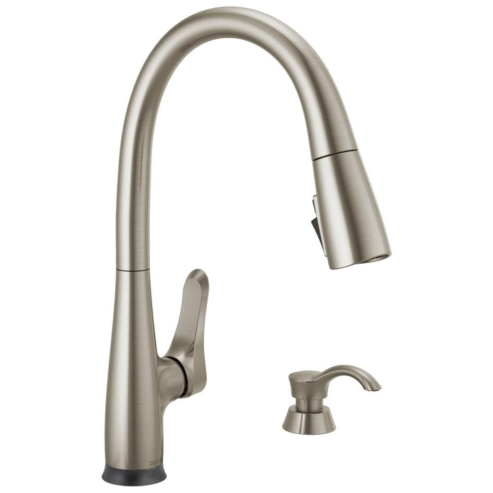 Delta Dunsley Voiceiq Spotshield Stainless 1 Handle Deck Mount Pull Down Touchless Kitchen Faucet In The Kitchen Faucets Department At Lowes Com