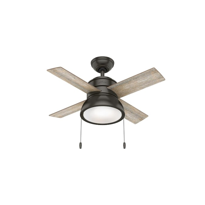 Hunter Loki 36 In Noble Bronze Led Ceiling Fan 4 Blade In The Ceiling Fans Department At Lowes Com