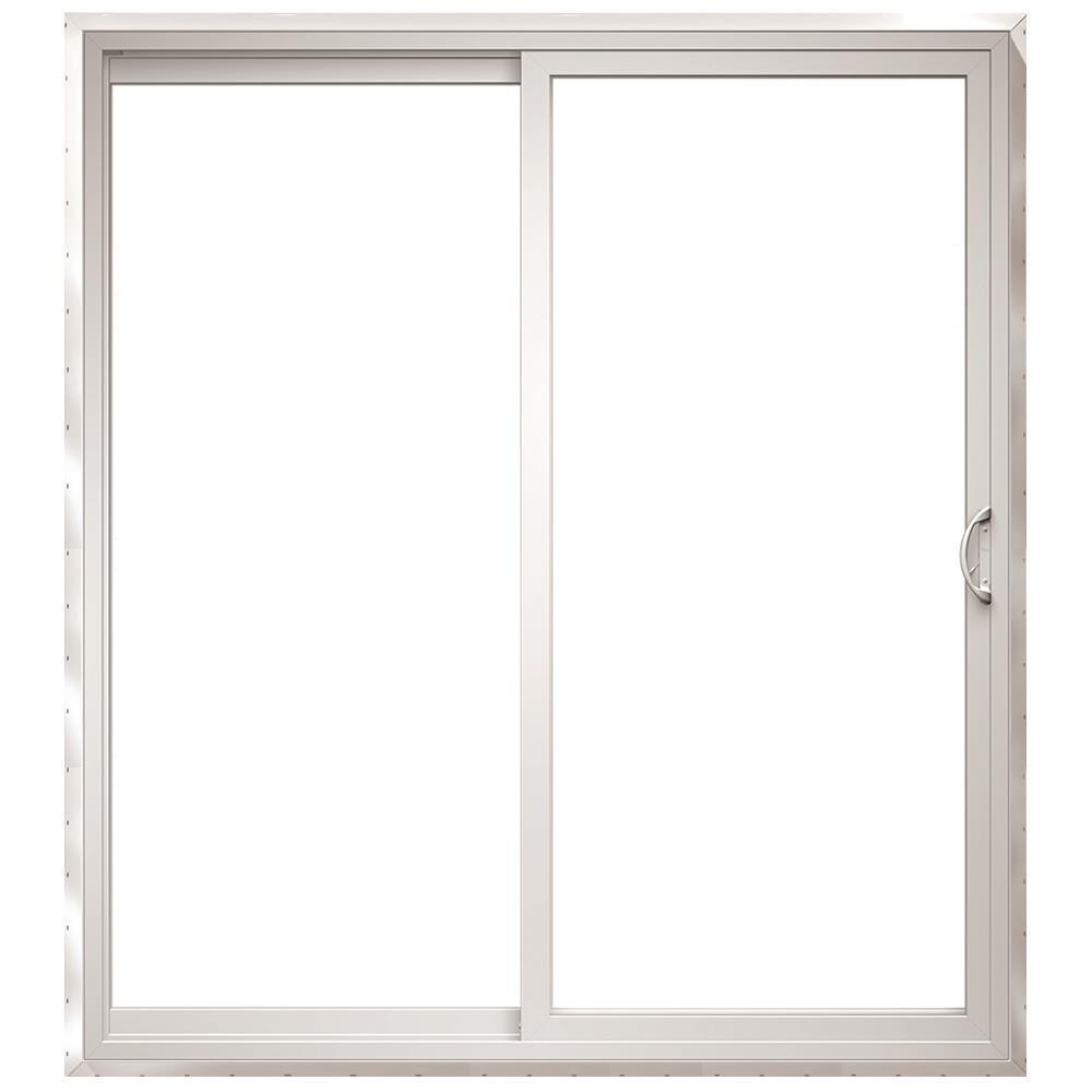 150 Series 72-in x 80-in Tempered Clear Glass White Vinyl Universal Reversible Prehung Double Door Sliding Patio Door   - Pella 1000010019