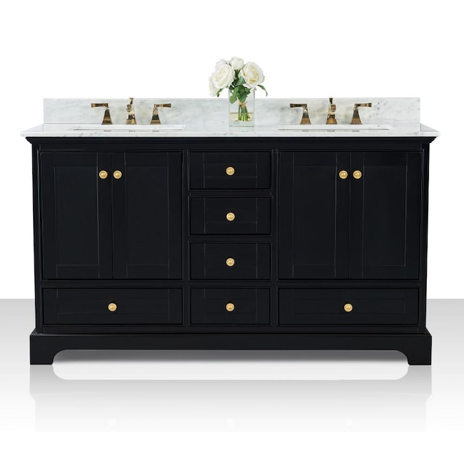 Ancerre Designs Audrey 60 In Black Onyx Undermount Double Sink Bathroom Vanity With Carrara White Natural Marble Top In The Bathroom Vanities With Tops Department At Lowes Com