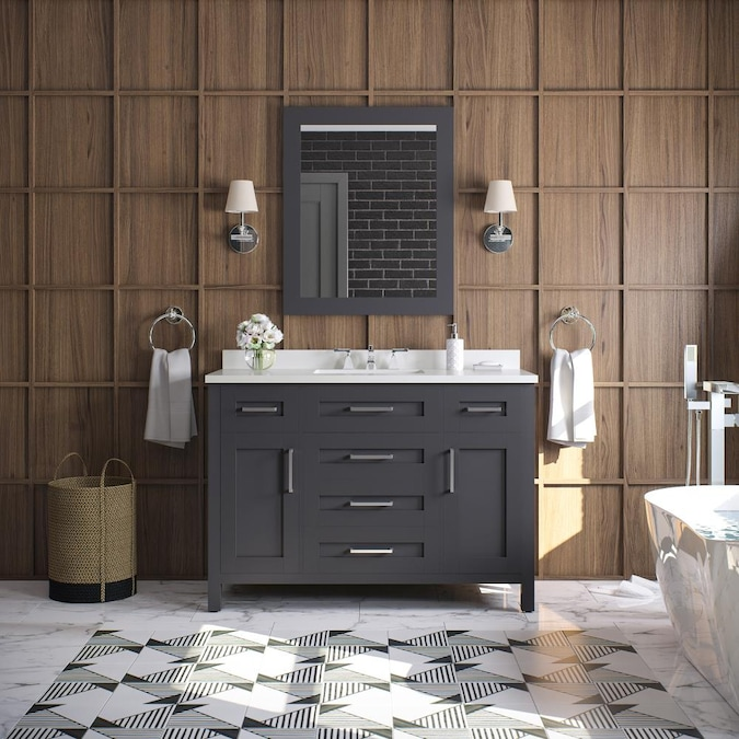 Ove Decors Tahoe 48 In Dark Charcoal, What Size Mirror For A 48 Vanity