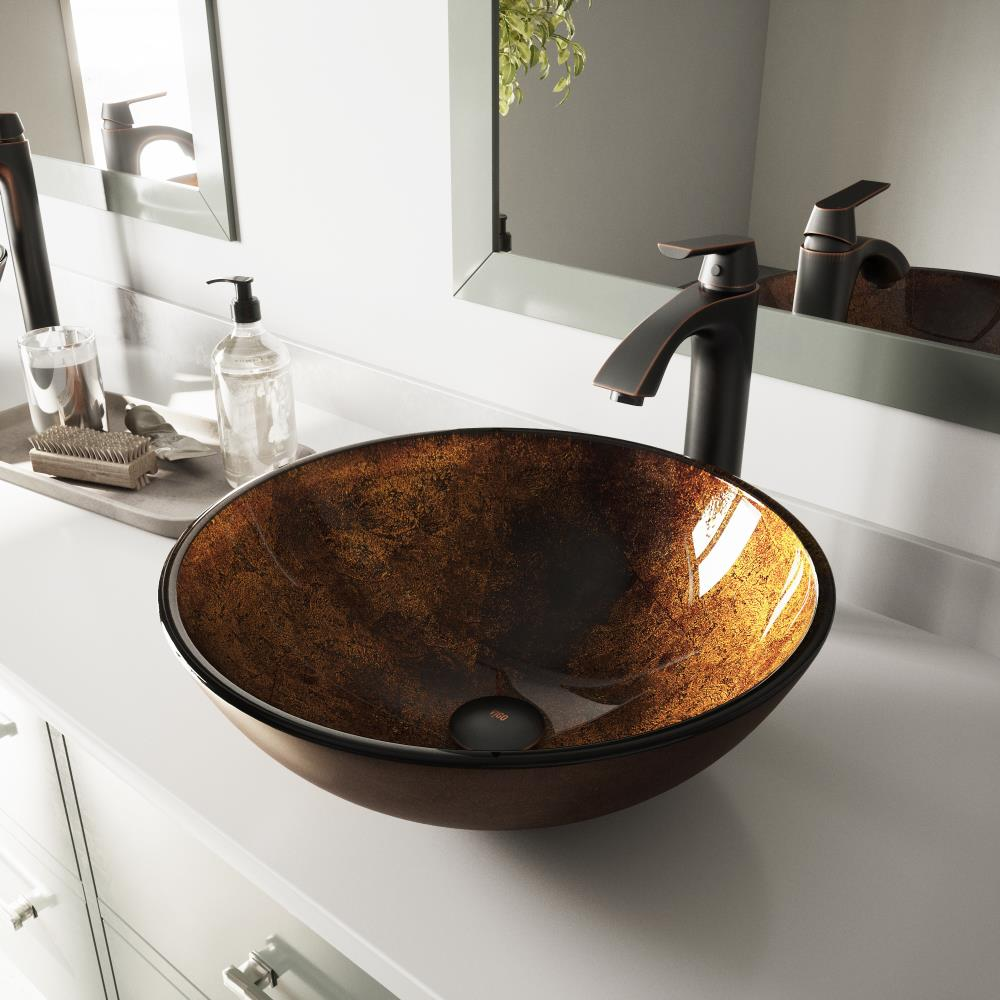 Fusion Glass Vessel Round Bathroom Sink, Bathroom Vessels Sinks