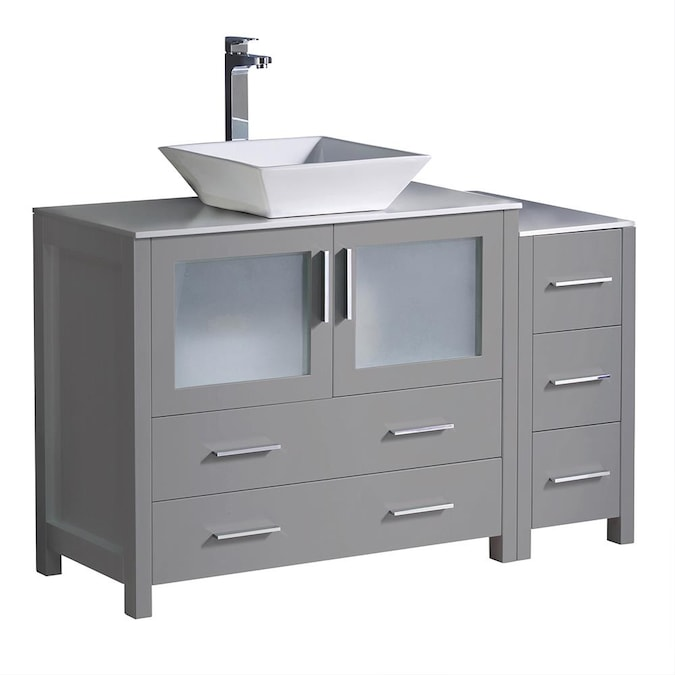 Fresca Torino 48 In Gray Single Sink Bathroom Vanity With White Ceramic Top In The Bathroom Vanities With Tops Department At Lowes Com