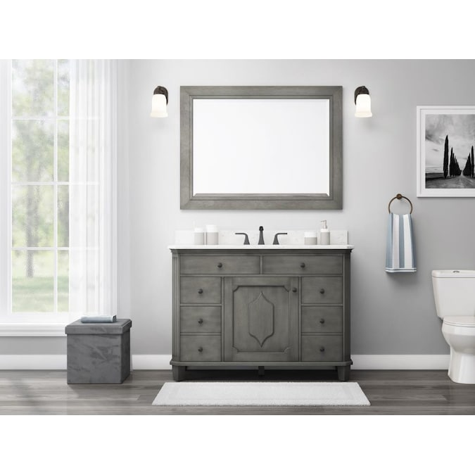 Allen Roth Whitney 48 In Antique Gray Undermount Single Sink Bathroom Vanity With White Carrera Engineered Stone Top In The Bathroom Vanities With Tops Department At Lowes Com