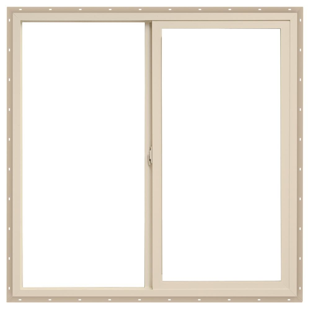 47.5-in x 35.5-in x 2.6875-in Jamb Left-operable Vinyl New Construction Egress Almond Sliding Window in Off-White   - ThermaStar by Pella 1000007494