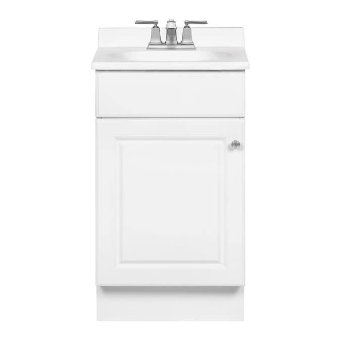 White Single Sink Bathroom Vanity With, Small Bathroom Sink And Vanity Combo