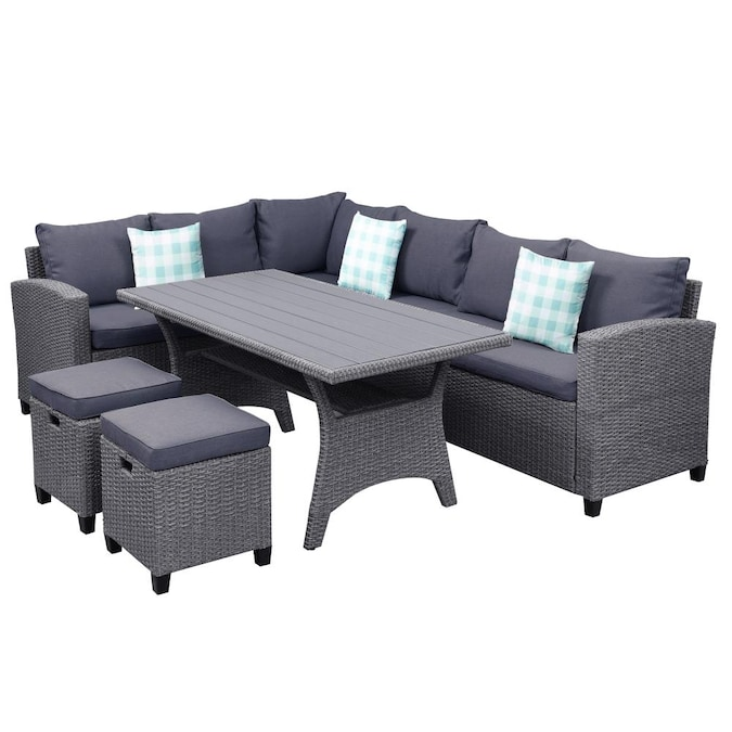 Casainc Patio Furniture Set 5 Piece, Outdoor Sectional Couch With Dining Table