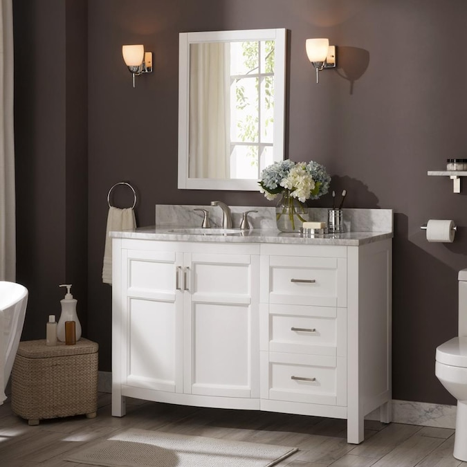 Allen Roth Moravia 48 In White, What Size Mirror Over A 48 Inch Vanity