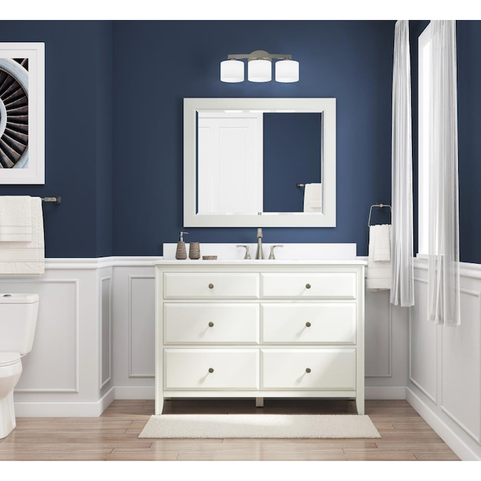 Style Selections 48 In Matte White Undermount Single Sink Bathroom Vanity With White Engineered Stone Top In The Bathroom Vanities With Tops Department At Lowes Com