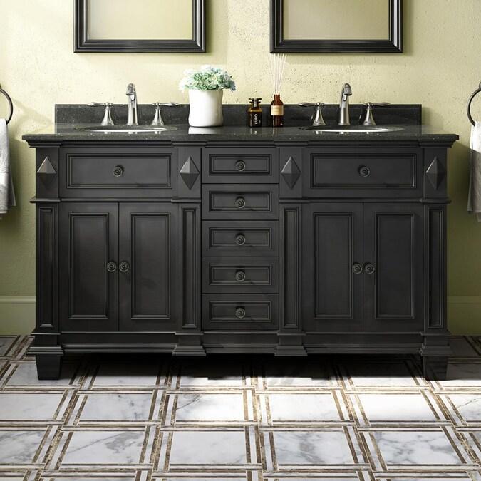 Ove Decors Essex 60 In Antique Black Undermount Double Sink Bathroom Vanity With Black Granite Top In The Bathroom Vanities With Tops Department At Lowes Com