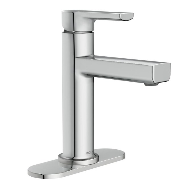 Moen Rinza Chrome 1 Handle Single Hole Watersense Bathroom Sink Faucet With Drain And Deck Plate In The Bathroom Sink Faucets Department At Lowes Com