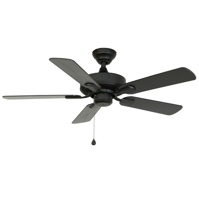 Harbor Breeze Classic 42 In Matte Black Downrod Or Flush Mount Indoor Outdoor Ceiling Fan In The Ceiling Fans Department At Lowes Com