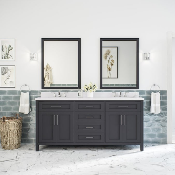 Ove Decors Tahoe 72 In Dark Charcoal Undermount Double Sink Bathroom Vanity With White Engineered Stone Top Mirror Included In The Bathroom Vanities With Tops Department At Lowes Com