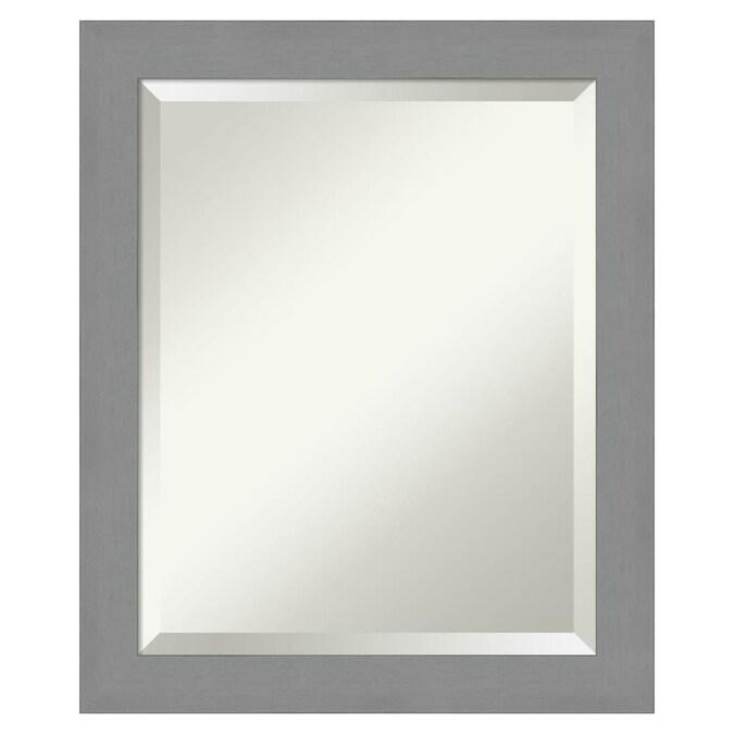 Amanti Art Brushed Nickel Frame, Nickel Framed Vanity Mirror