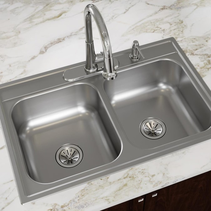 Dayton Drop In 33 In X 22 In Satin Double Equal Bowl 4 Hole Kitchen Sink In The Kitchen Sinks Department At Lowes Com