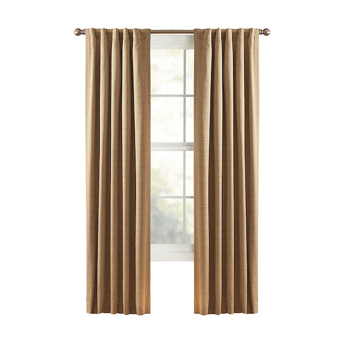 Back Tab Single Curtain Panel, Black And Brown Curtains