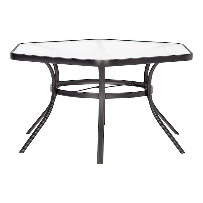 Garden Treasures Pelham Bay Hexagon, Outdoor Patio Table And Chairs With Umbrella Hole