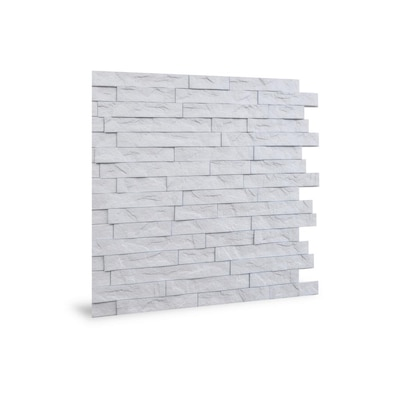 Innovera Decor By Palram Ledge Stone 24 In X 24 In Rustic Matt White Wall Panel 6 Pack In The Wall Panels Department At Lowes Com