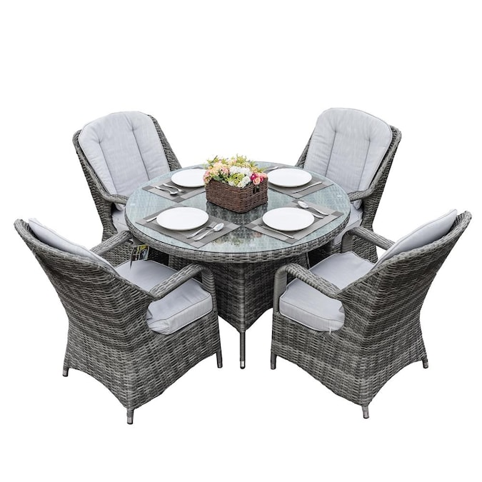 Seats Patio Dining Table Set, Round Patio Table Set