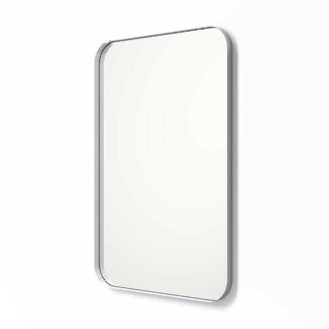 Silver Rectangular Bathroom Mirror, Brushed Steel Bathroom Mirror