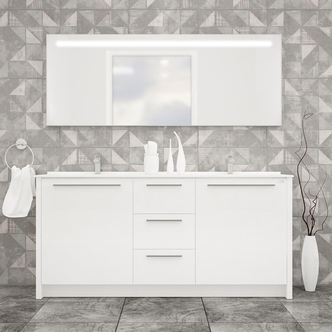 Casa Mare Modern 71 In White Double Sink Bathroom Vanity With White Acrylic Top Mirror Included In The Bathroom Vanities With Tops Department At Lowes Com